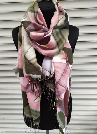 Палантин шарф абстракция турция зеленый розовый