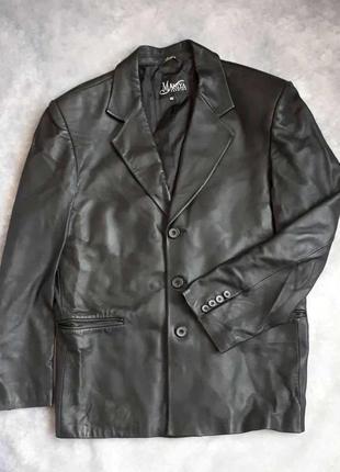 Кожаный пиджак мужской maniya fashion