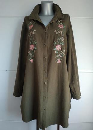 Стильная длинная рубашка george с вышивкой красивых цветов