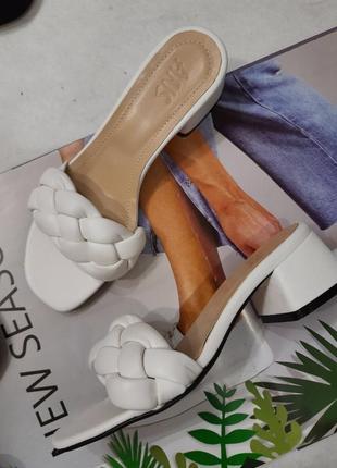 Кожаные сабо натуральная кожа шлепанцы на каблуке косы косички