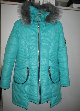 Зимняя куртка пальто  angeli r ,цвет мяты, на  12-14 лет. р-42.