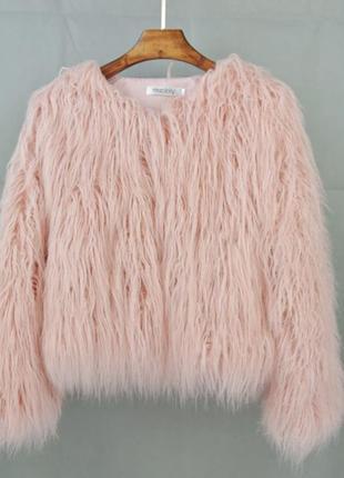 Шуба лама эко мех автоледи цвет пудра нежно розовый