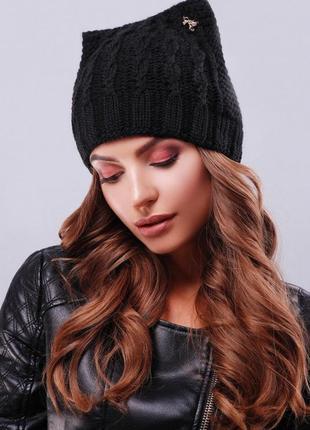 Модная вязаная шапка ушки, кошка, черная, универсальный размер!
