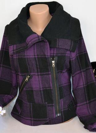 Брендовая куртка косуха в клетку на молнии с карманом brave soul