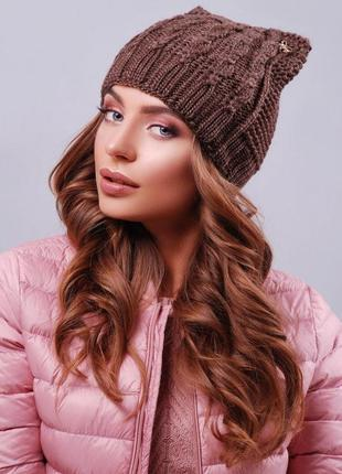Модная вязаная шапка ушки, кошка, коричневый, универсальный ра...