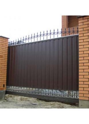 Ворота откатные распашные стальные ворота автоматика поликарбонат