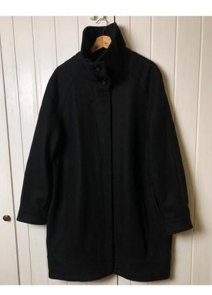 Пальто, шерсть, пальто кокон, чёрное пальто