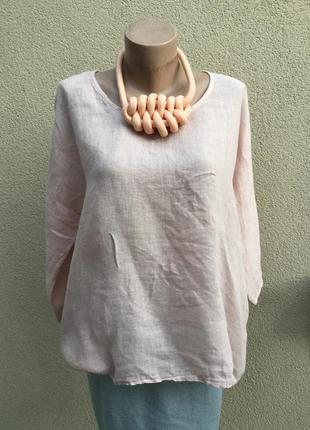 Блуза,рубаха реглан,этно,бохо стиль,лён ,большой размер,италия...