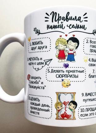 Подарок мужу жене чашка love is правила семьи