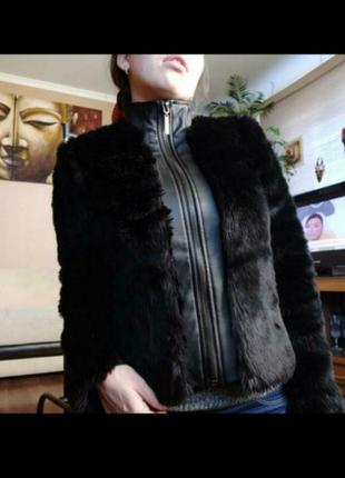 Кожаная куртка с еко мехом