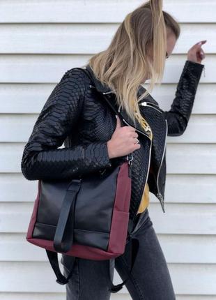 Кожаный черный бордовый рюкзак, черная бордовая кожаная сумка,...
