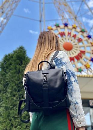 Кожаный черный рюкзак, черная кожаная сумка, сумка-рюкзак. 3 ц...