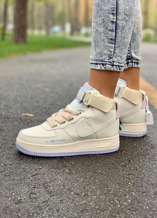 Nike af1 utility sportswear cream high женские кожаные кроссовки
