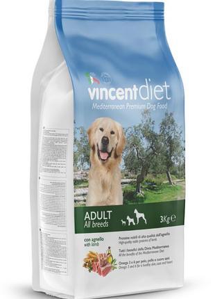 Корм для дорослих собак з бараниною Vincent Diet 3 kg