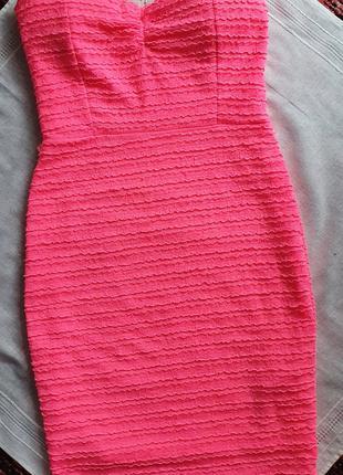 Шикарное летние платье без бретель короткое ярко розовое шикарна