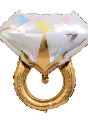 Воздушный шар фольгированный Кольцо, золото, 61х57 см