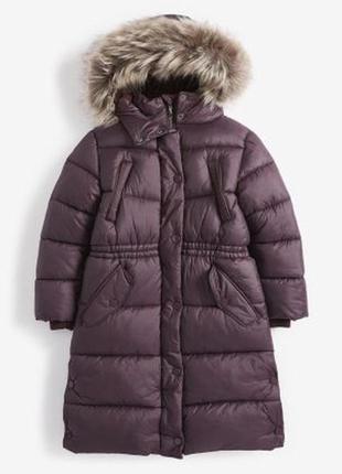 Длинная водоотталкивающая дутая куртка с искусственным мехом (...