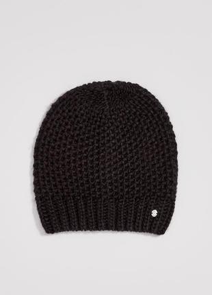Новая модная женская молодежная однотонная вязаная черная шапк...