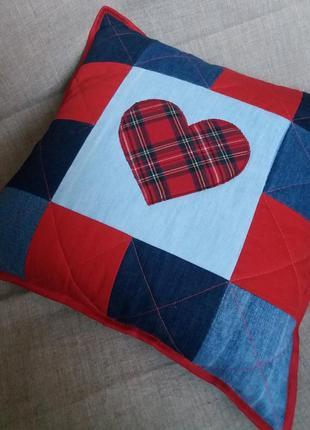 Джинсовая декоративная наволочка, подушка ′сердце 2′