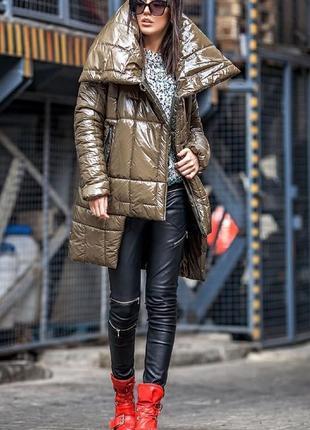 Куртка лакэ пуховик курточка женская