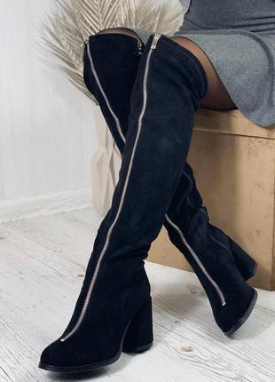 Высокие сапоги ботфорты на каблуке деми