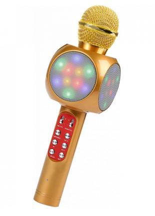 Беспроводной Микрофон Караоке WSTER WS-1816. (Золотой) (3 Цвета)