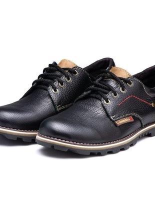 Кожаные мужские туфли кроссовки черные columbia