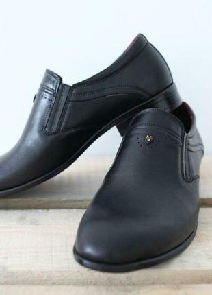 Мужские кожаные классические туфли vivaro черные