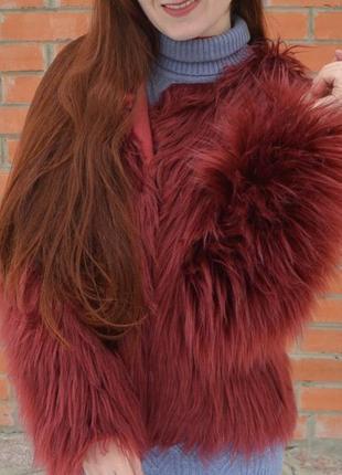 Шуба пальто автоледи куртка меховая эко мех лама искусственный