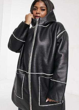 Чёрная кожаная куртка с мехом и капюшоном, парка свободная aso...