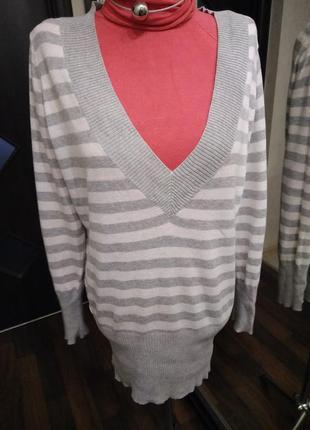 Пуловер удлиненный  с глубоким вырезом