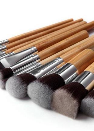 Набор кистей для макияжа 11 шт. ворс таклон ручки бамбук