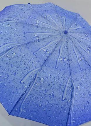 Зонт-полуавтомат капли дождя ярко-голубой