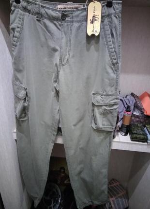 ,,брюки хлопковые прямые с накладными карманами и кулиской