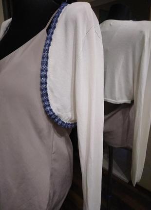 Болеро рукава с отделкой синим бисером вичкоза
