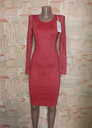 Платье нарядное с люрексом с длинным рукавом