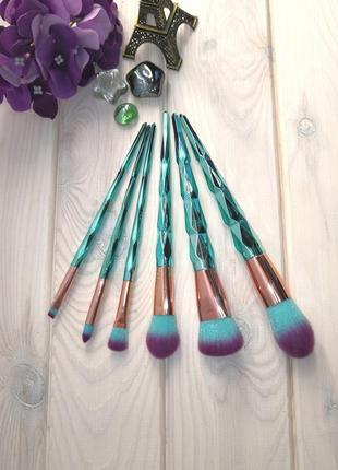 Кисти для макияжа набор 6 шт diamond blue/violette граненые ручки