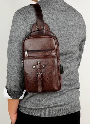 Мужской однолямочный рюкзак мужская сумка нагрудная через плеч...