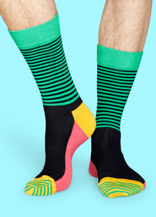 Мужские носки happy socks green striped
