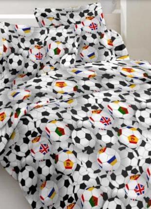 Постельное полуторное белье футбол футбольный мяч