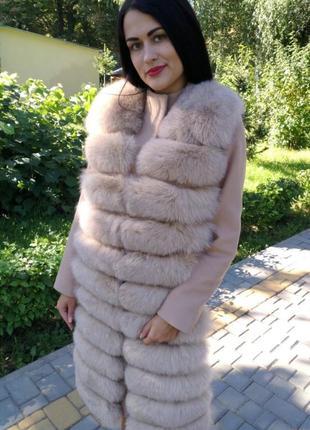 Пальто с мехом финского песца пальто 2 в 1