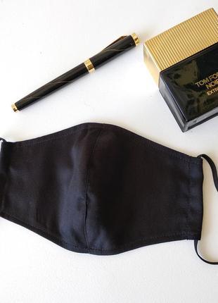 Мужская сатиновая   черная маска для лица с ткани