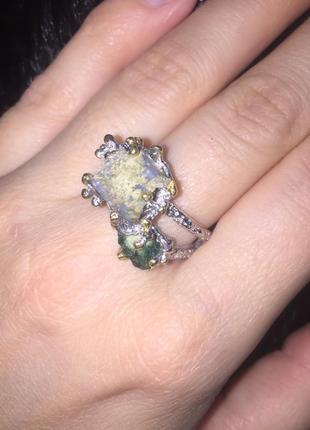 Кольцо с опалом эфиопский опал и изумруд кольцо с изумрудом и ...