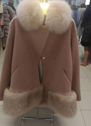 Пальто с мехом финского песца пальто кашемир с финским песцом