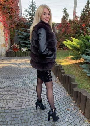 Шуба из финского песца куртка жилет с мехом песца шуба трансфо...