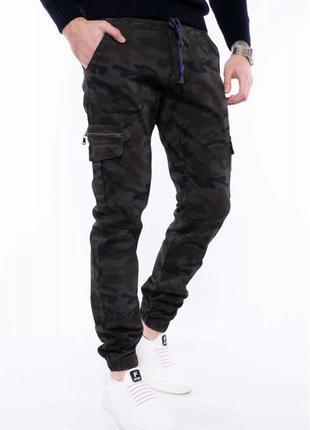 Брюки милитари принт 166p411-1, джинсы джоггеры камуфляжные