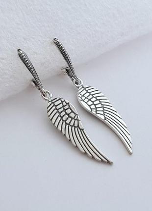 Серебряные серьги крылья 925 проба