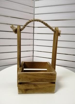 Деревянный декоративный ящик для цветов и подарков. Ящик-кашпо