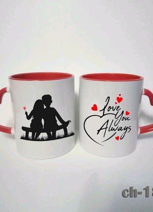 Чашка влюбленные. Надпись. Ко дню валентина