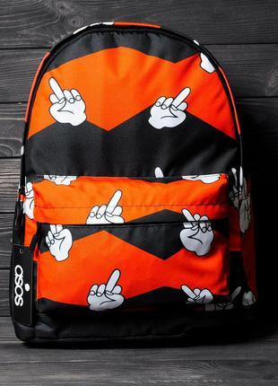 Рюкзак портфель городской asos с принтом палец / рюкзак портфе...